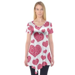 Heart Love Pink Back Short Sleeve Tunic
