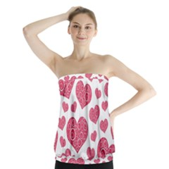 Heart Love Pink Back Strapless Top