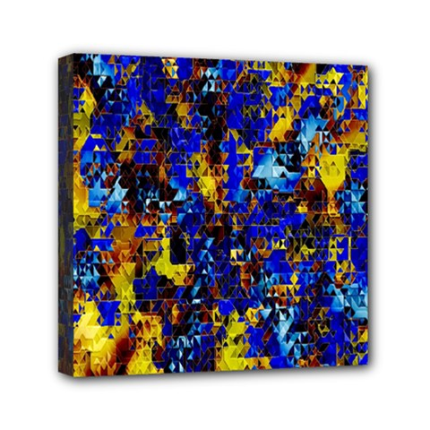 Network Blue Color Abstraction Mini Canvas 6  x 6