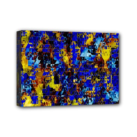 Network Blue Color Abstraction Mini Canvas 7  x 5