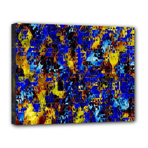 Network Blue Color Abstraction Canvas 14  x 11