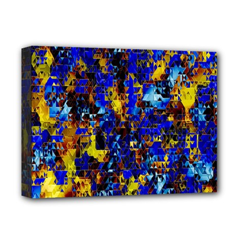 Network Blue Color Abstraction Deluxe Canvas 16  x 12
