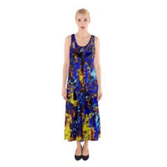 Network Blue Color Abstraction Sleeveless Maxi Dress