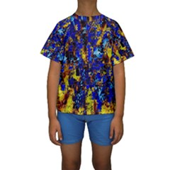 Network Blue Color Abstraction Kids  Short Sleeve Swimwear