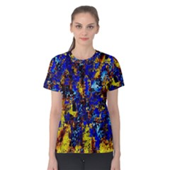Network Blue Color Abstraction Women s Cotton Tee