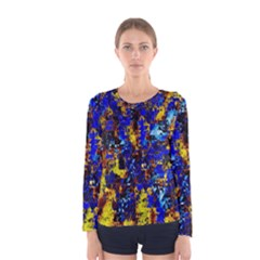 Network Blue Color Abstraction Women s Long Sleeve Tee