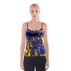 Network Blue Color Abstraction Spaghetti Strap Top