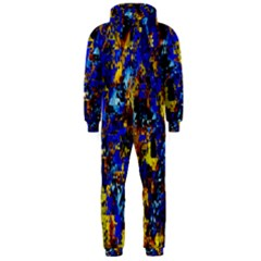 Network Blue Color Abstraction Hooded Jumpsuit (Men)