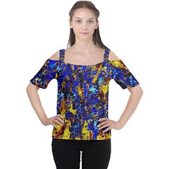 Network Blue Color Abstraction Women s Cutout Shoulder Tee