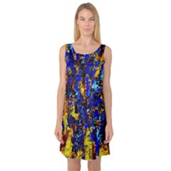 Network Blue Color Abstraction Sleeveless Satin Nightdress