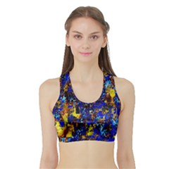 Network Blue Color Abstraction Sports Bra with Border