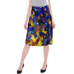 Network Blue Color Abstraction Midi Beach Skirt