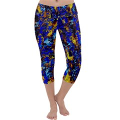 Network Blue Color Abstraction Capri Yoga Leggings