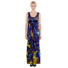 Network Blue Color Abstraction Maxi Thigh Split Dress