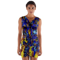Network Blue Color Abstraction Wrap Front Bodycon Dress