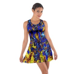 Network Blue Color Abstraction Cotton Racerback Dress