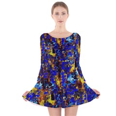 Network Blue Color Abstraction Long Sleeve Velvet Skater Dress