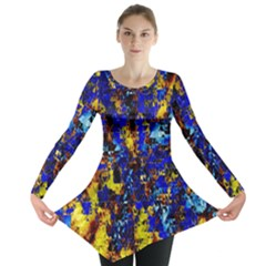 Network Blue Color Abstraction Long Sleeve Tunic