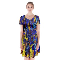 Network Blue Color Abstraction Short Sleeve V-neck Flare Dress