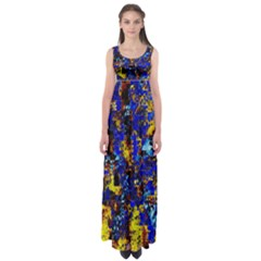 Network Blue Color Abstraction Empire Waist Maxi Dress