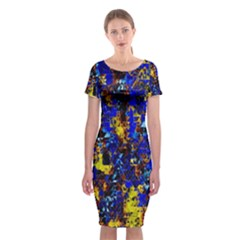 Network Blue Color Abstraction Classic Short Sleeve Midi Dress