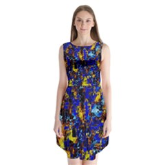 Network Blue Color Abstraction Sleeveless Chiffon Dress