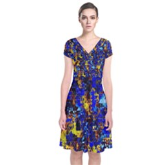 Network Blue Color Abstraction Short Sleeve Front Wrap Dress