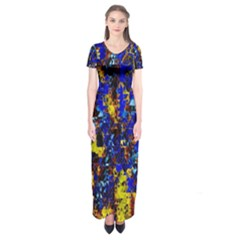 Network Blue Color Abstraction Short Sleeve Maxi Dress