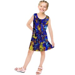 Network Blue Color Abstraction Kids  Tunic Dress