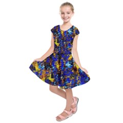 Network Blue Color Abstraction Kids  Short Sleeve Dress