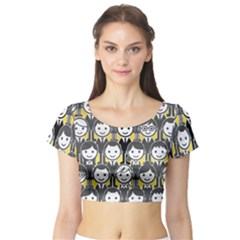 Man Girl Face Standing Short Sleeve Crop Top (Tight Fit)