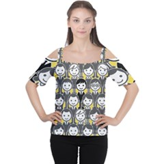 Man Girl Face Standing Women s Cutout Shoulder Tee