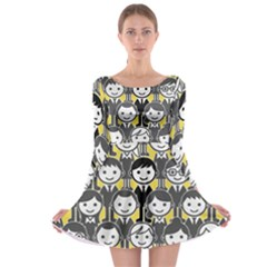 Man Girl Face Standing Long Sleeve Skater Dress