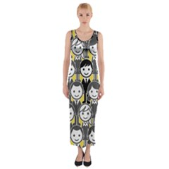 Man Girl Face Standing Fitted Maxi Dress