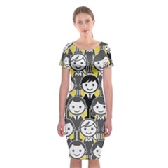 Man Girl Face Standing Classic Short Sleeve Midi Dress