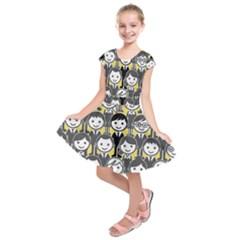 Man Girl Face Standing Kids  Short Sleeve Dress