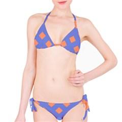 Orange Blue Bikini Set