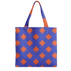 Orange Blue Zipper Grocery Tote Bag