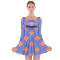 Orange Blue Long Sleeve Skater Dress