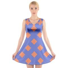 Orange Blue V-Neck Sleeveless Skater Dress