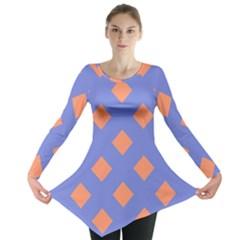 Orange Blue Long Sleeve Tunic