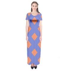 Orange Blue Short Sleeve Maxi Dress
