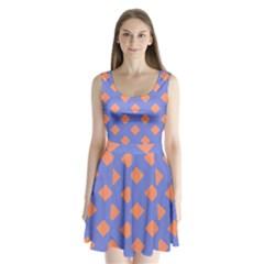 Orange Blue Split Back Mini Dress