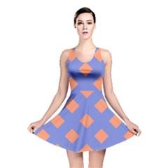 Orange Blue Reversible Skater Dress