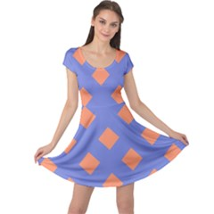 Orange Blue Cap Sleeve Dresses