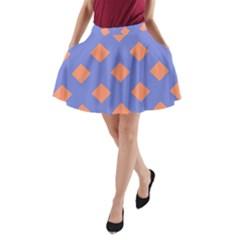 Orange Blue A-Line Pocket Skirt
