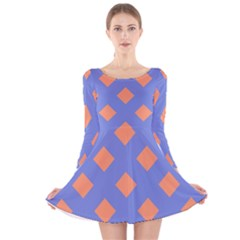 Orange Blue Long Sleeve Velvet Skater Dress