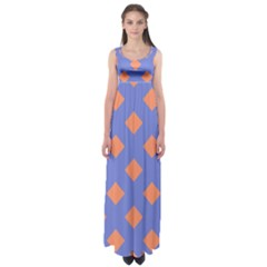 Orange Blue Empire Waist Maxi Dress