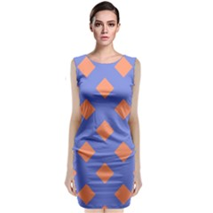 Orange Blue Classic Sleeveless Midi Dress