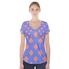 Orange Blue Short Sleeve Front Detail Top